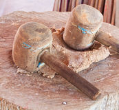 Old wooden mallet Stock Photo