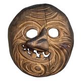 Old wooden mask. Ancient mask for the rite. Isolated on white background. royalty free stock photo