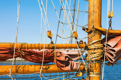 Old wooden mast on a wooden ship Royalty Free Stock Photo