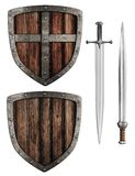 Old wooden medieval knight's shield and swords set Stock Image