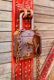 Old wooden and metal with rusty key Stock Photo