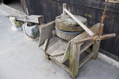 Old Wooden Mill and Pestle Royalty Free Stock Photography