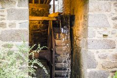 The old wooden mill wheel. In Normandy, France stock photo