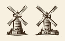 Old wooden mill, windmill logo or label. Agriculture, farming, agribusiness icon. Vintage vector illustration Stock Photos