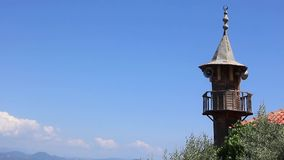 Old wooden minaret stock footage