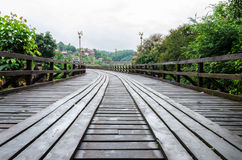 Old wooden Mon Bridge in Sangkhla Buri Royalty Free Stock Images