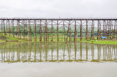 Old wooden Mon Bridge in Sangkhla Buri Stock Photography