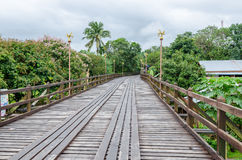 Old wooden Mon Bridge in Sangkhla Buri Stock Image