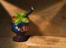 Old Wooden Mortar with Basil Royalty Free Stock Images