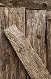 Old wooden nailed boards. Close-up as background stock photography