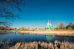 Old Wooden Orthodox Church Of The Holy Trinity IVillage Old Krupets, Dobrush District, Gomel Region, Belarus Royalty Free Stock Photography