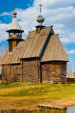 Old wooden Orthodox church in the spring Stock Images