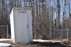 Old Wooden Out Door Toilet. An image of an old wooden out door toilet in winter Royalty Free Stock Photos
