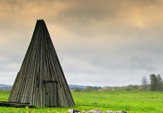Old  wooden outhouse , Latvia Stock Photography