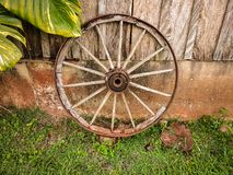 Old wooden ox cart wheel royalty free stock photography
