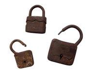 Old wooden padlocks. On white background Stock Image