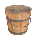 Old wooden pail isolated. Royalty Free Stock Image