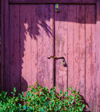 Old wooden painted door with padlock. Royalty Free Stock Photos