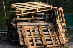 Old wooden pallets for recycling. The old wooden pallets for recycling Stock Photography