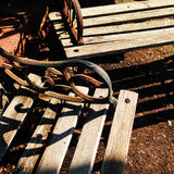 Old Wooden Park Benches Royalty Free Stock Image