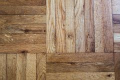 Old wooden parquet flooring details. Wooden parquet flooring macro details with traces of usage Stock Photography