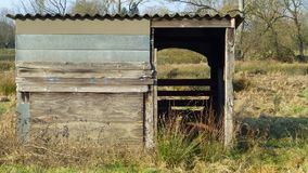 Old wooden pasture shed Royalty Free Stock Image