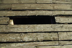 Old wooden path with hole. S Royalty Free Stock Image