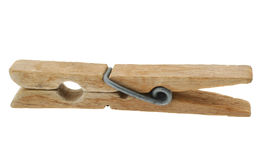 Old wooden peg on white Stock Photos
