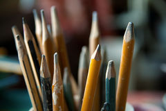 Old wooden pencils Stock Images