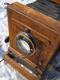 Old wooden photo camera. Royalty Free Stock Images