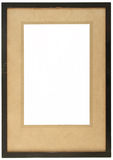 An old wooden photo frame. With yellowing card and space to insert a photo Royalty Free Stock Photo