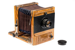Old Wooden Photographic Camera Stock Photos