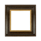Old wooden photoframe. Isolated on a white background with copyspace Royalty Free Stock Photos