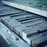 Old wooden Piano keys. Close up. Aged photo. Royalty Free Stock Image