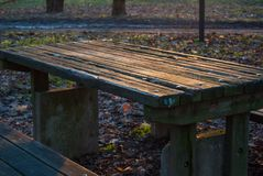 Old wooden picnic table at the park. Old wooden picnic table in a municipal park illuminated by sunset Royalty Free Stock Images
