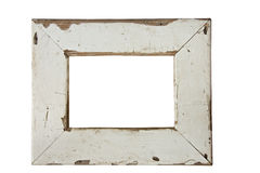 Old wooden picture frame. Empty old weathered picture frame isolated on white Stock Photo