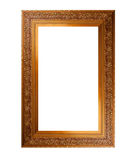 Old wooden picture frame with empty place for text or image over white background Stock Photos
