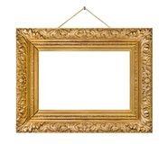 Old wooden picture frame hanging on a rope Stock Images