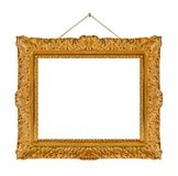 Old wooden picture frame hanging on a rope Royalty Free Stock Image
