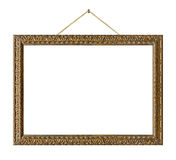 Old wooden picture frame hanging on a rope Royalty Free Stock Photo