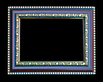 Old wooden picture frame isolated on black background Royalty Free Stock Images