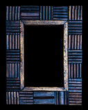Old wooden picture frame isolated on black background Stock Photography