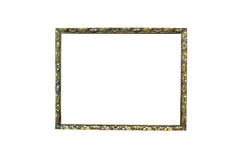 Old wooden picture frame on isolated white background. Stock Photo