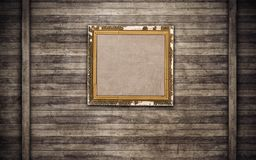 Old wooden picture frame on wooden wall Stock Photos