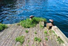 Old wooden pier in Bergen Stock Photo