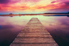 Old Wooden Pier. Calm River Stock Image