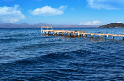 Old wooden pier on Corfu island in Greece Royalty Free Stock Images