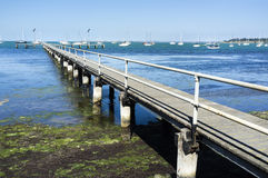 Old wooden pier Geelong Australia. Sunny summer afternoon. Blue royalty free stock image