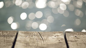 Old Wooden Pier Jetty on River with Water Sparkling in Bokeh stock video