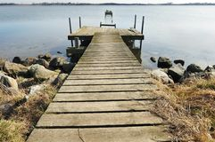 Old wooden pier on the lake Royalty Free Stock Photo